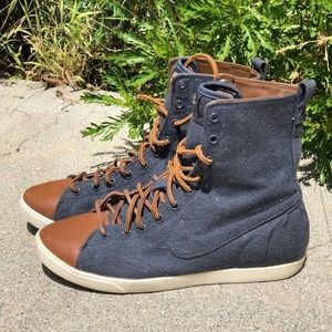 Nike high tops 8.5 leather laces and detailing